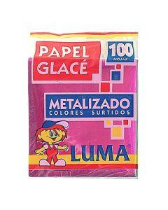 PAPEL GLACE METALIZADO X 100 HS LUMA