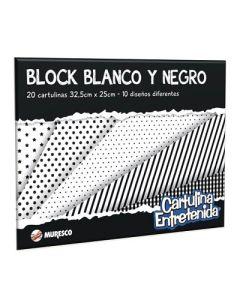 BLOCK MURESCO CARTULINA ENTRETENIDA BLANCO Y NEGRO