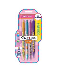 BOLIGRAFO PAPER MATE RETRACTIL INKJOY100 WRAPS CANDY X4