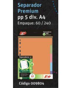 SEPARADOR FW PREMIUM PP. A4 5 DIVISIONES