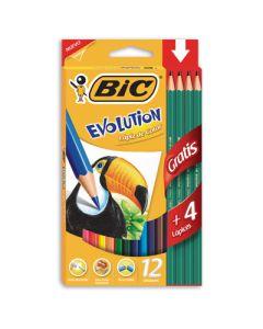 LAPICES COLOR BIC EVOLUTION X12+4 GRAFITOS